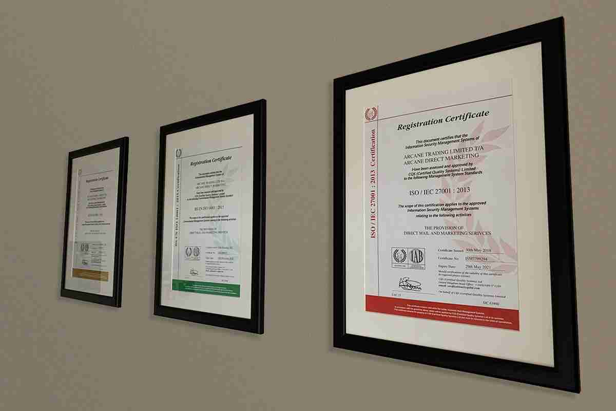 ISO Certificates on Wall